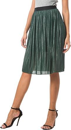 Urban GoCo Mujer Retro Midi Faldas Corta de Brillante Plisada ...