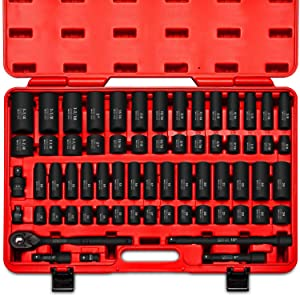 "Neiko 02448A 1/2"" Drive Master Impact Socket Set, 65Piece Deep & Shallow Socket Assortment 