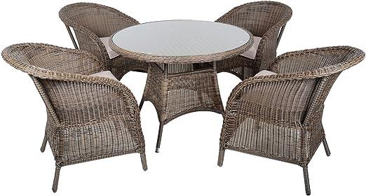 Azuma 5 piezas Marseille ratán mimbre muebles de jardín mesa de comedor silla asiento set: Amazon.es: Jardín