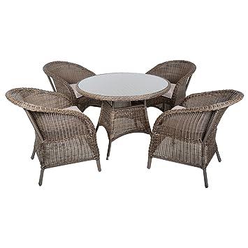Azuma 5 piezas Marseille ratán mimbre muebles de jardín mesa ...