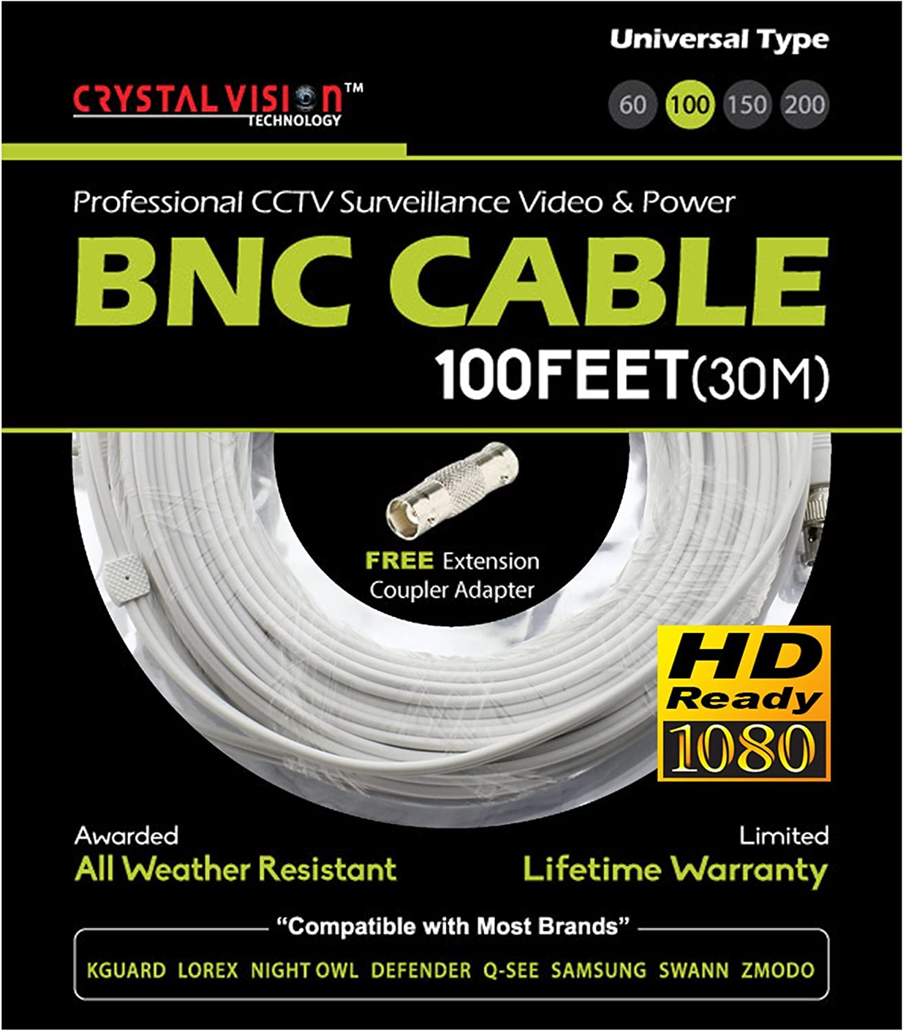 New 2 High Quality 100FT BNC Extension CCTV Cable for Samsung,Kguard,Swan,Lorex