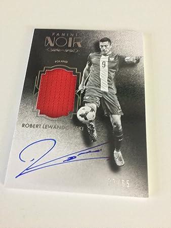 2ddf59c982b Panini Noir Soccer Robert Lewandowski 33 65 Autograph Memorabilia Black and  White Signed Card  Amazon.co.uk  Toys   Games