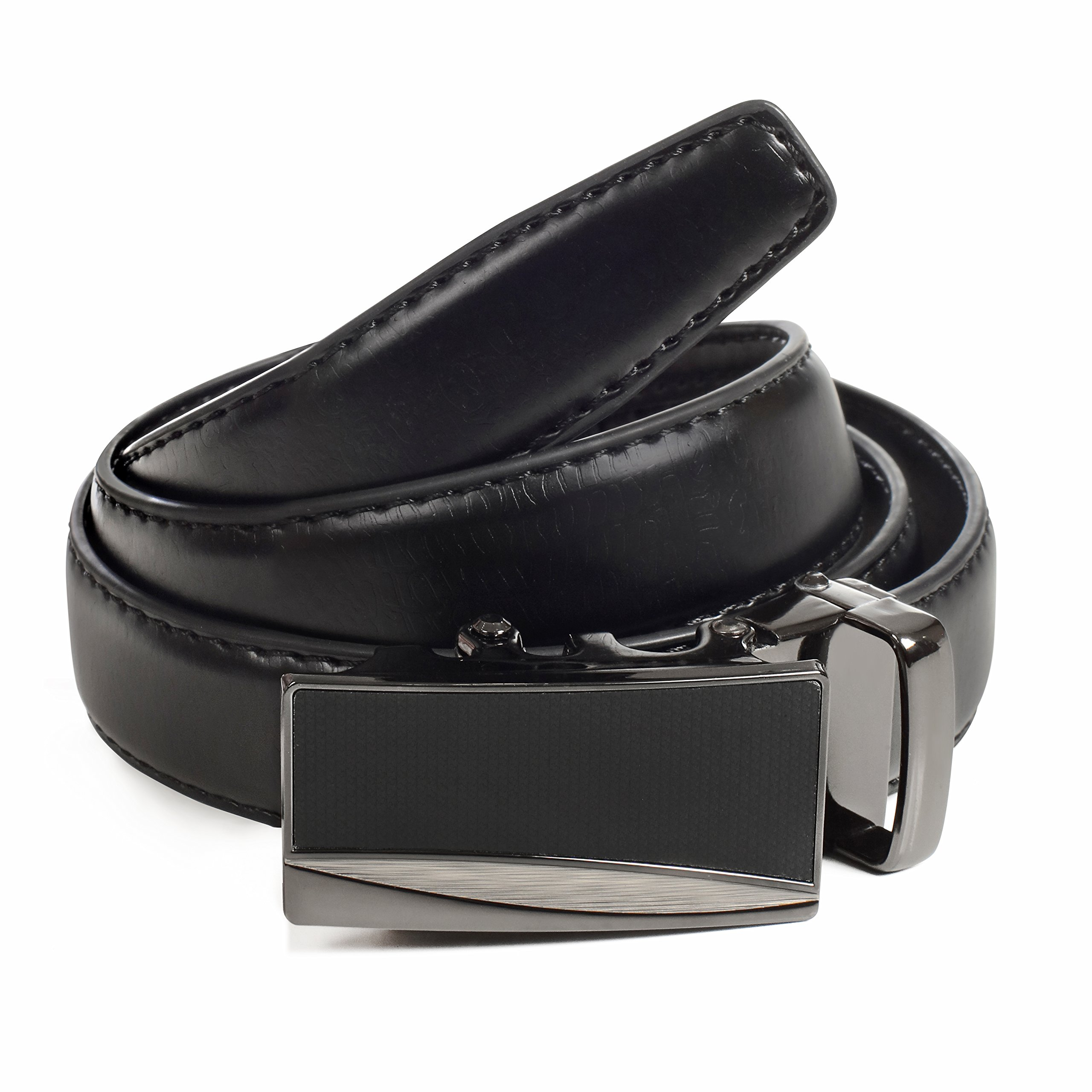 Womens Ratchet Belt, Leather, Automatic Buckle, Adjustable Belt With No Holes by CANDOR AND CLASS (Up to 44 Inch Waist, W722 Black)