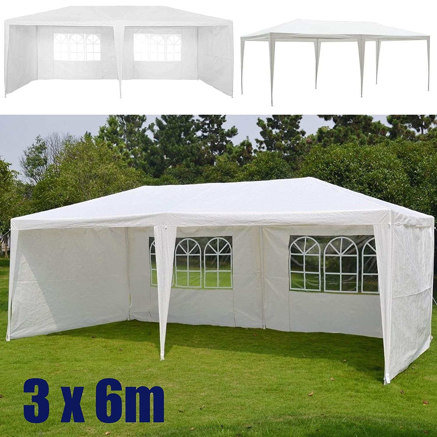 with Upgrade Metal Frame and 4 Sidewalls 120g waterproof PE Cover Easy Install Fit for Hard or Soft Ground Outdoor Party Gazebo Tent 3x3M Blue Canopy