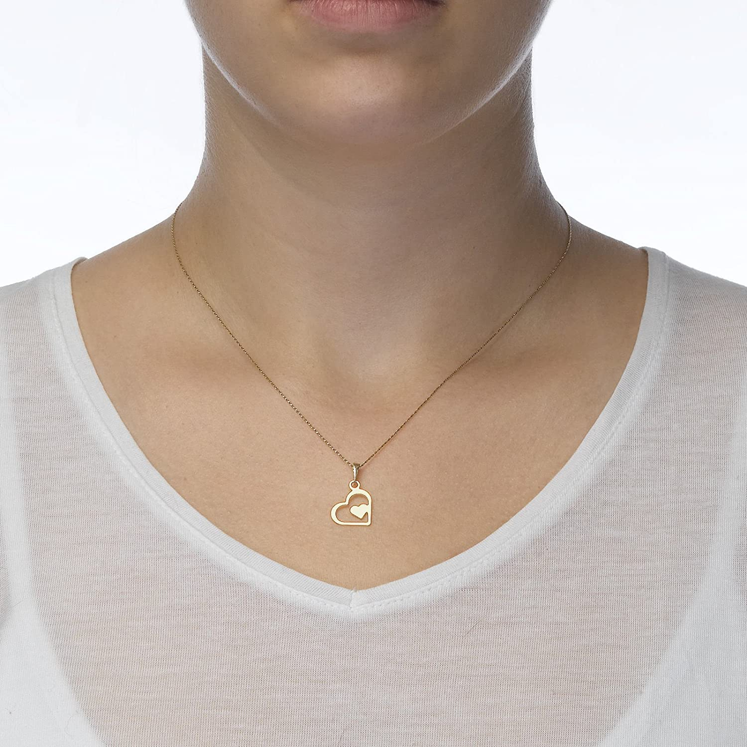 14K Yellow Gold Wondrous Heart Pendant With Necklace