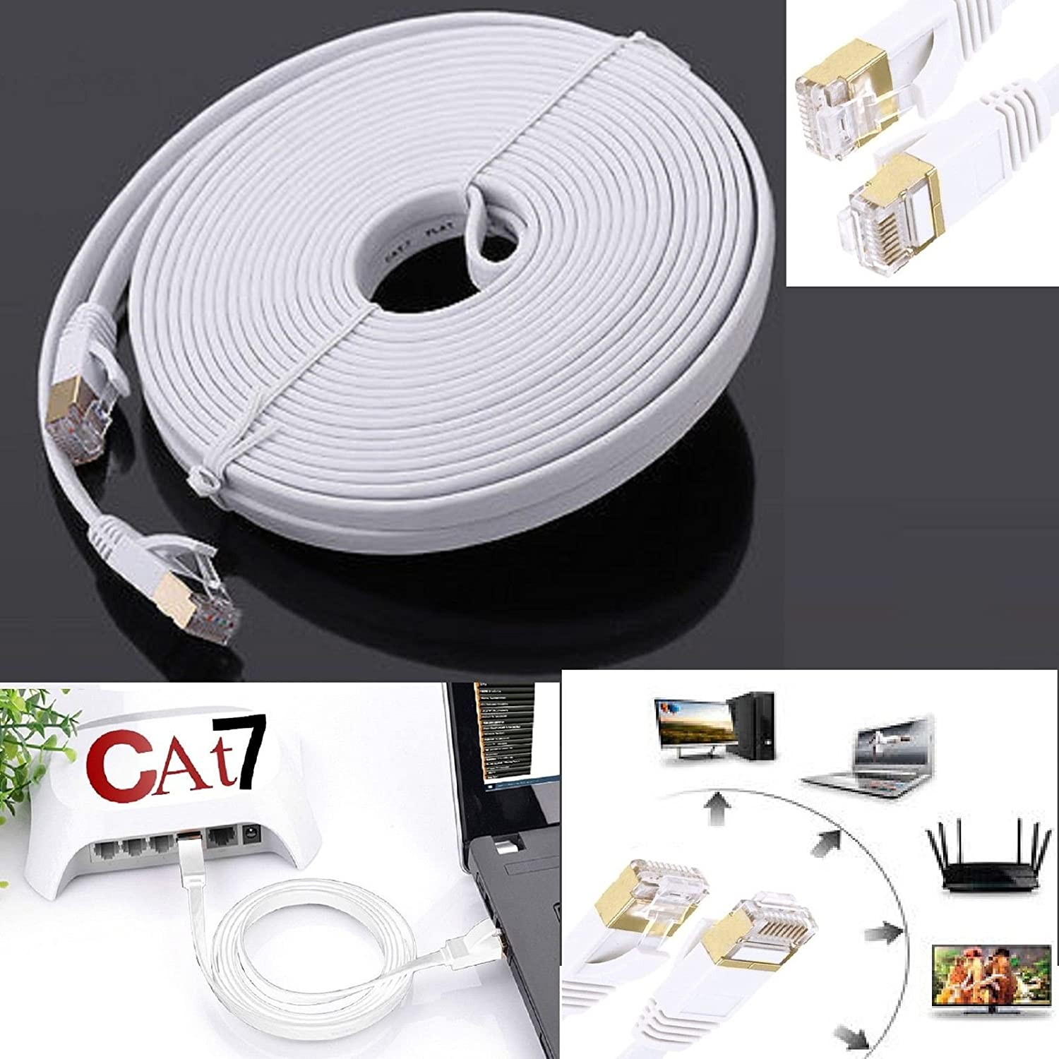 CAT7 10 Gigabit Ethernet Ultra Flat Patch Cable RJ45 Network Patch Cord Cable Northbear Cat7 Flat Ethernet Cable