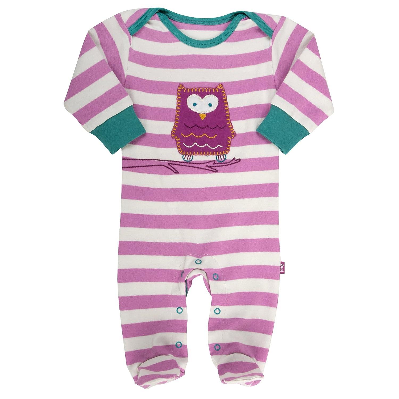 Kite Baby Girls Stripy Owl Sleepsuit Long Sleeve Footies Pink 6-12 Months BG177/6-12