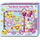 SmitCo LLC Diaries For Girls - Secret Emoji Theme Personal Journal With Invisible Ink Pen And Blue Light - Gift Set Includes 200 Page Notebook, Clip On LED Book Light, Secret Message Pen, Stickers