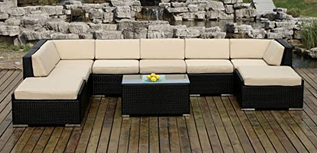 Ohana Collection PN0902 Genuine Ohana Outdoor Patio Wicker Furniture  9 Piece All Weather Gorgeous Couch