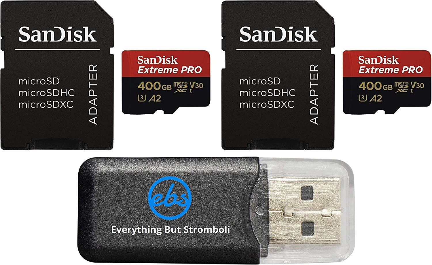 2 Pack SDSDQXCZ-400G-GN6MA Everything But Stromboli MicroSD Reader SanDisk 400GB Micro SDXC Extreme Pro Memory Card Max 360 Cam U3 V30 4K Class 10 1 Works with GoPro Hero 8 Black Bundle with