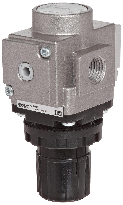 Gauge in Handle Relieving type 28 scfm 1//4 NPT With Set Nut SMC ARG20-N02G2H-Z Regulator with Gauge in Handle 7.25-123 psi Set Pressure Range