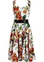 White Floral Hawaiian 50's PinUp Retro Vintage Swing Dress