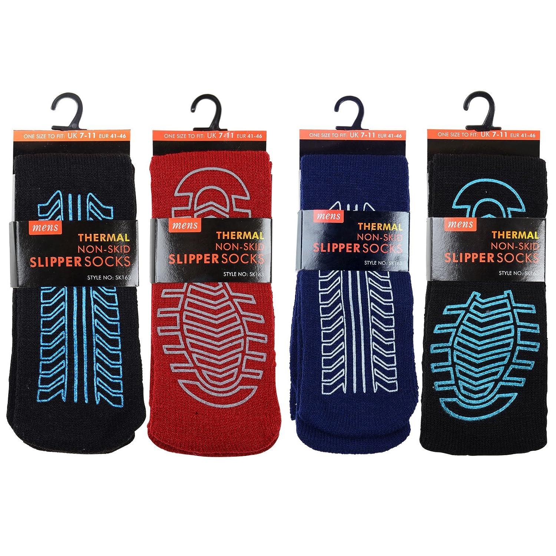 4 Pairs Mens Non Skid Slip Slipper Socks Thermal Thick Fleece