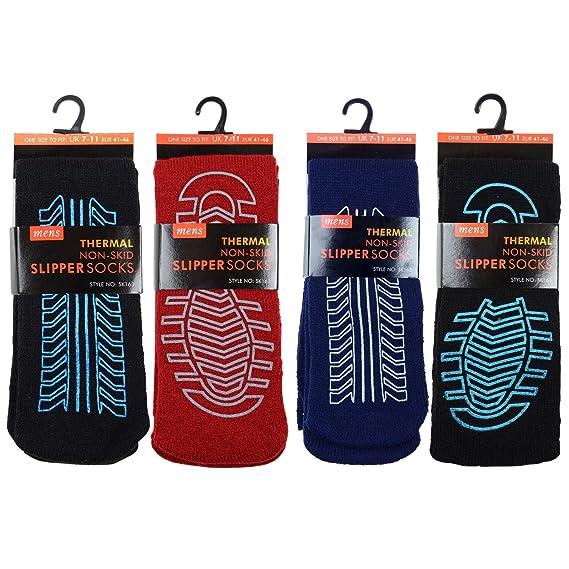 4 Pares Hombre Antideslizante Slip Calcetines De Pantufla Térmico Grueso Polar Talla Única (REINO UNIDO 6-11): Amazon.es: Ropa y accesorios