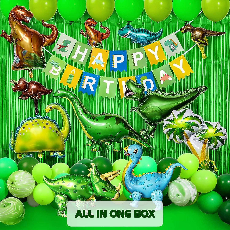 Garma 104PCS Boy Dinosaur Birthday Party Decorations, Dinosaur Birthday Party Supplies Include Green Coconut Dinosaurs Balloons Happy Birthday Banner Foil Fringe Artificial Topical Leaves Birthday Decor