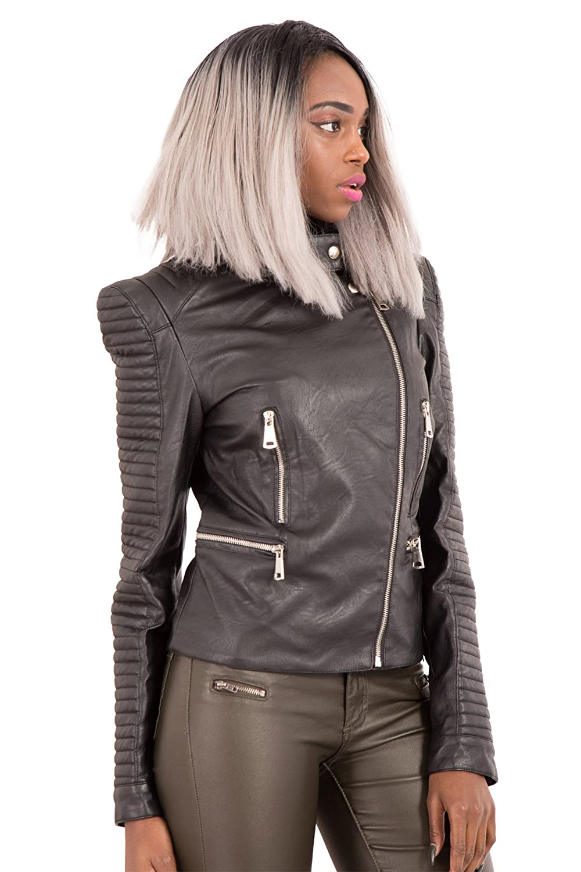63422d69d544 LustyChic Women s Black Super Soft Leather Look Asymmetric Multi Zip Fitted  Biker Jacket  Amazon.co.uk  Clothing