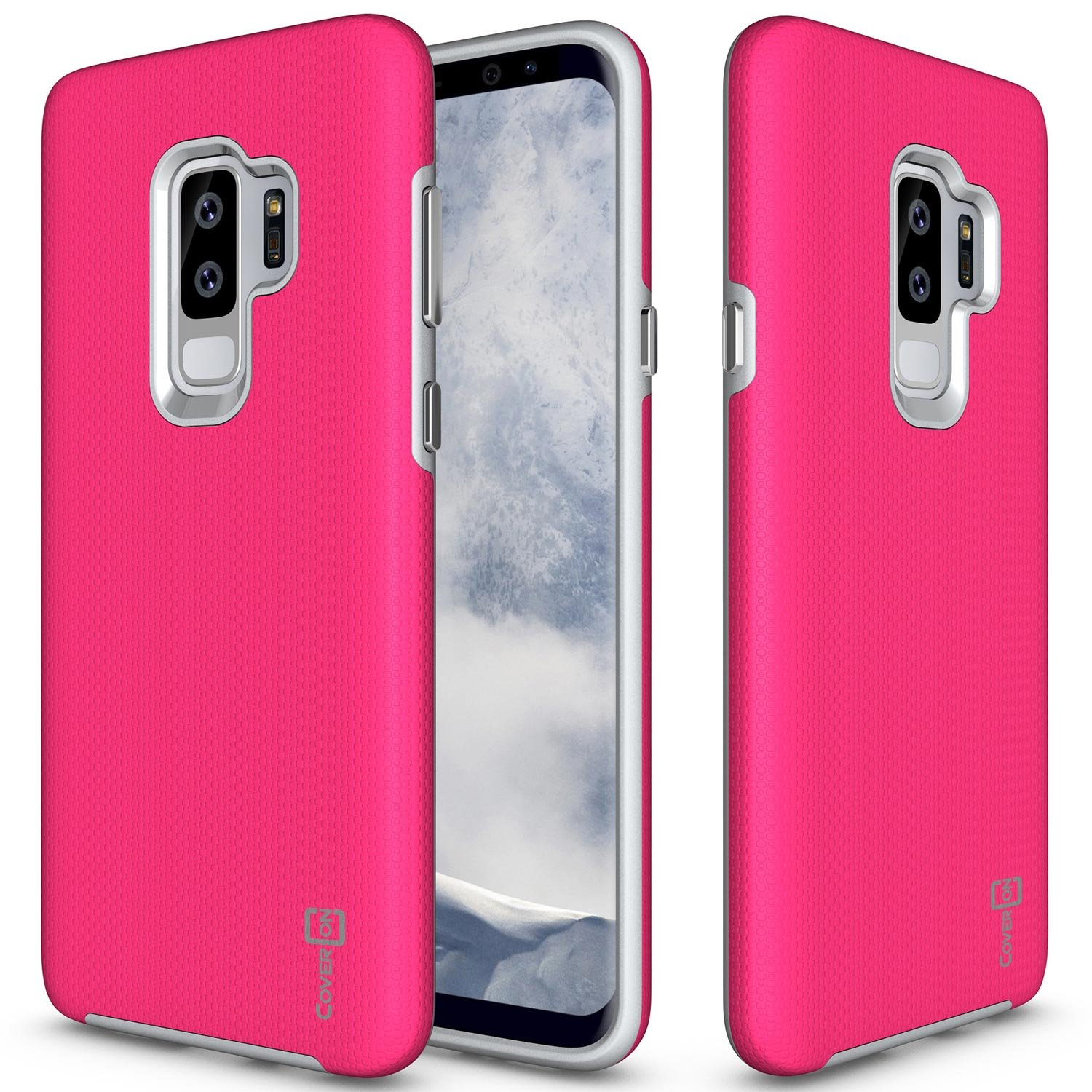 Amazon CoverON Samsung Galaxy S9 Plus Case [Rugged Series] Tough Protective Impact Absorbing Phone Cover with Easy Press Metal Buttons for Galaxy S9