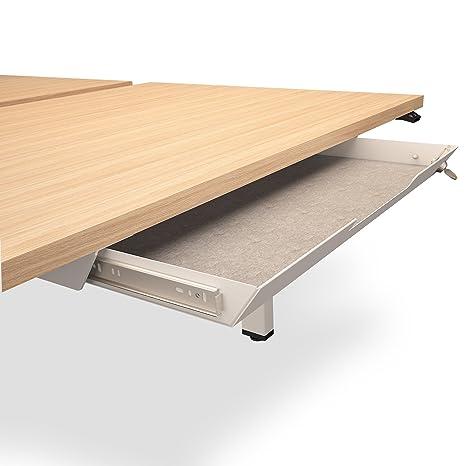 Unterbau-Schublade mit Schloss 584 x 290mm aus Metall mit Filzeinlage,  Farbe:Weiß