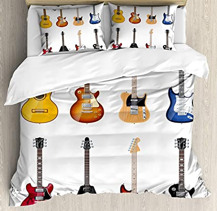 Guitar Bedding Sets, A Wide Variety Of String Instruments Realistic Musical  Pattern Jazz Blues Acoustic