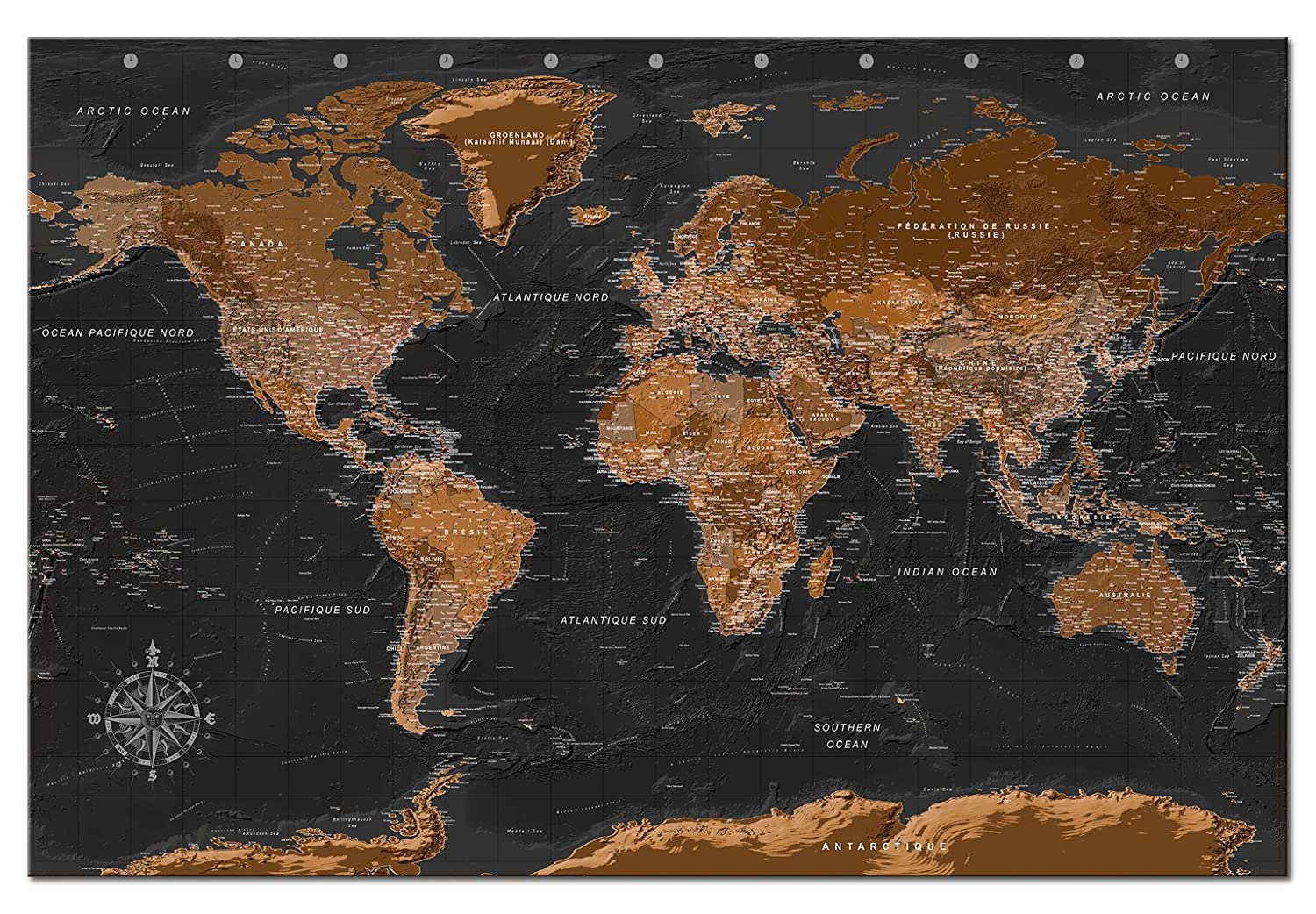 murando World map with pinboard XL//90x60 cm Print on canvas Beaverboard Canvas practical pinboard to pinching your notes World map k-A-0135-v-a