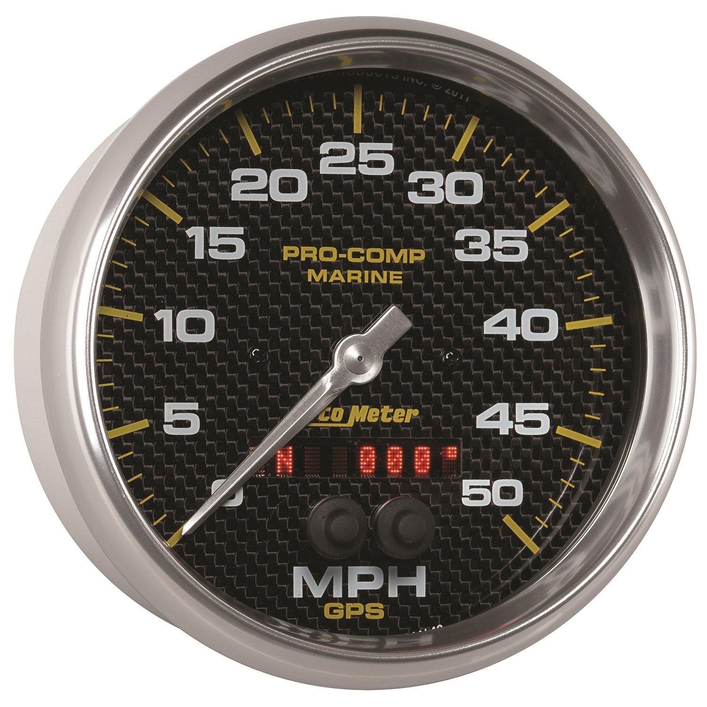 50Mph 5 Auto Meter AutoMeter 200644-40 Gauge Speedometer Marine Carbon Fiber GPS
