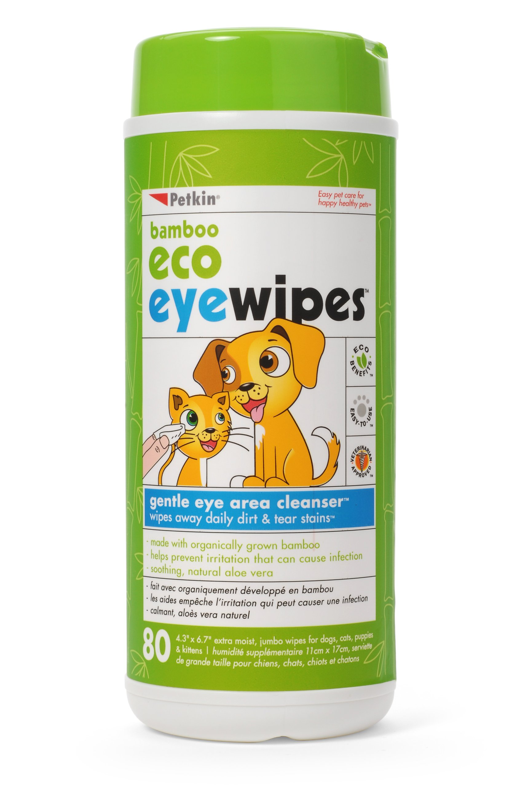 Petkin Bamboo Eco Eyewipes, 80 Count
