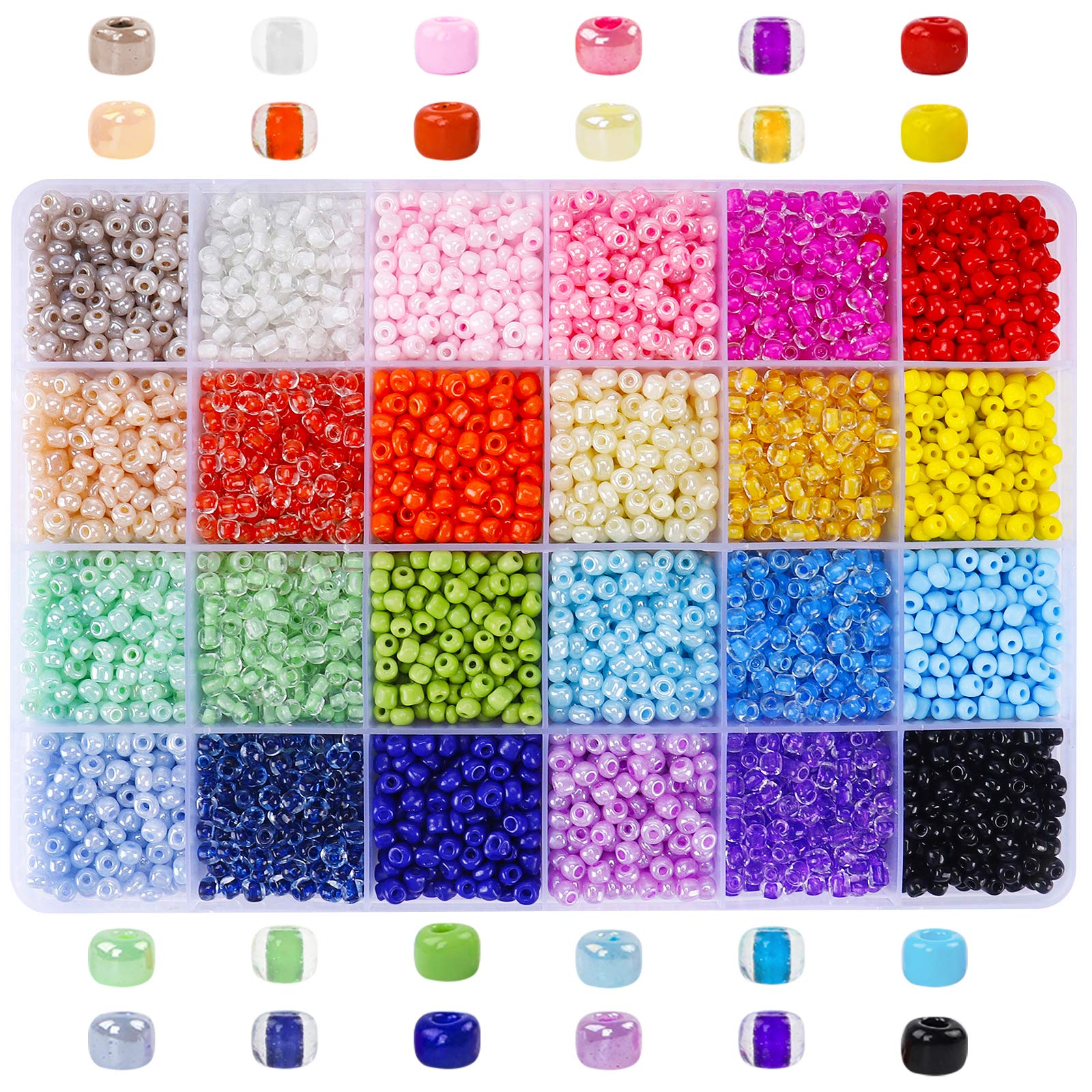 15600pcs 3mm Glass Seed Beads 24 Colors Loose Beads Kit Spacer Beads Bracelet Beads with 24-Grid Storage Box for Jewelry Making