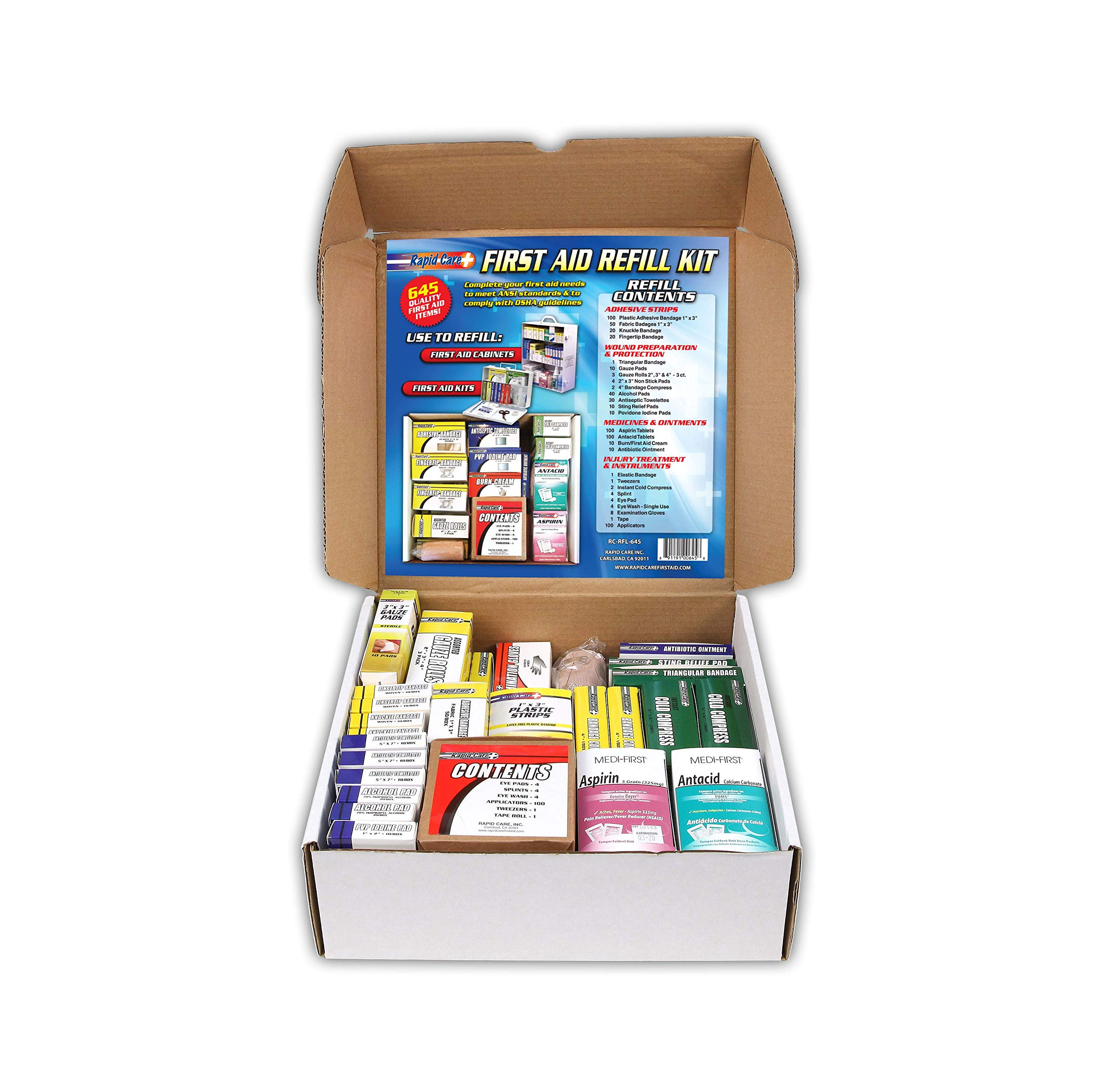 Rapid Care First Aid 93645 Refill Kit for 3 Shelf First Aid Cabinet, 643 Pieces, For Over 75 People by Rapid Care First Aid