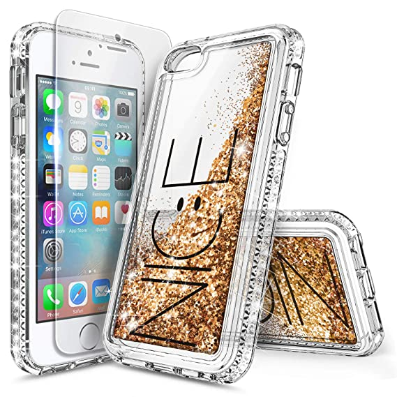 sports shoes 0904f 5e5d6 iPhone 5S Case, iPhone SE/5 Case, NageBee Glitter Liquid Quicksand  Waterfall Floating Sparkle Bling Diamond Women Girls Kids Cute Durable Case  ...