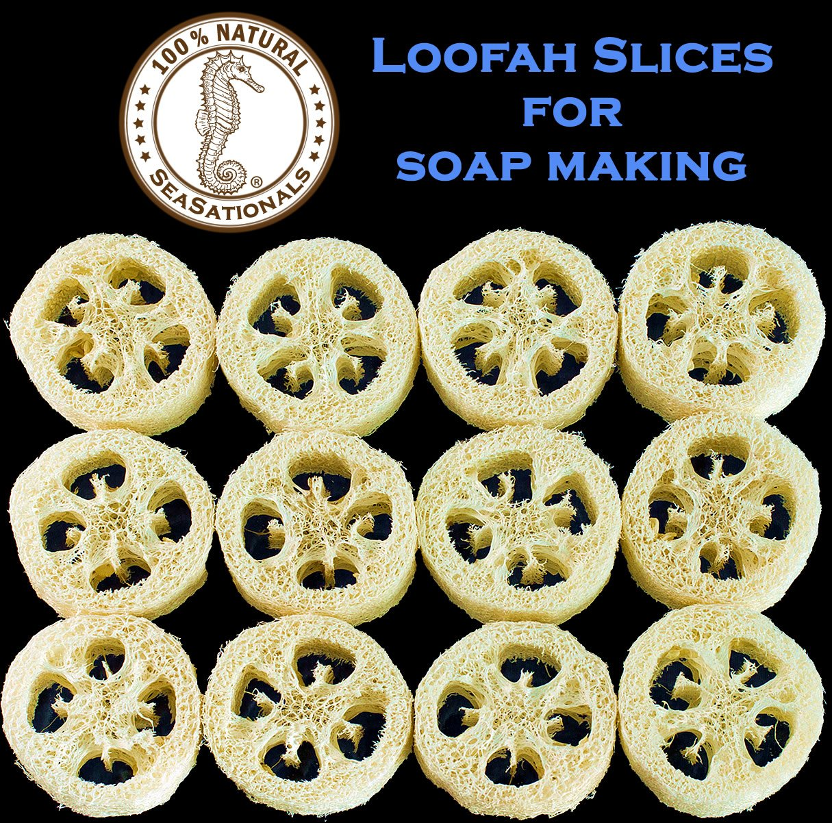 Premium Loofah Slices for Soap Making - Natural Luffa Cuts for DIY Soaping Products, Arts and Crafts - All Natural, Dry & Ready for Use Sliced Loofah (36)