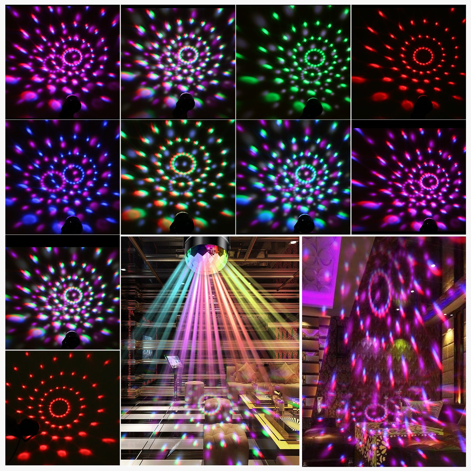 Deep Dream Crystal Ball Party Light Disco Ball Strobe Lighting Rotating Lamp 5W RGBWP LED Sound Activated DJ Karaoke Stage Lights Kids Birthday Gift For Men Home Supplies