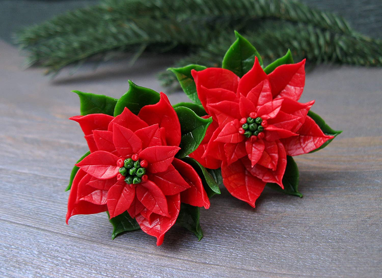 Christmas star hair clip Red green poinsettia Holiday gift for daughter granddaughter Winter wedding hairpiece Cute Xmas present party mistletoe New year ...