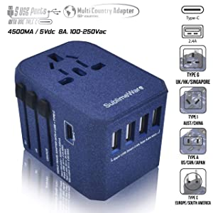 USB Type C Travel Power Plug Adapter - 5 USB Ports (4 USB Type A + 1 USB Type C Sand Blue) Wall Charger for Type I C G A Outlets 110V 220V A/C - 5V D/C - EU Euro US UK - European Adaptor