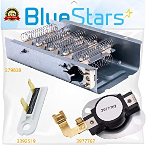 279838 & 3977767 & 3392519 Dryer Heating Element and Thermal Cut-off Fuse Kit Replacement by Blue Stars – Exact Fit For Whirlpool & Kenmore Dryers