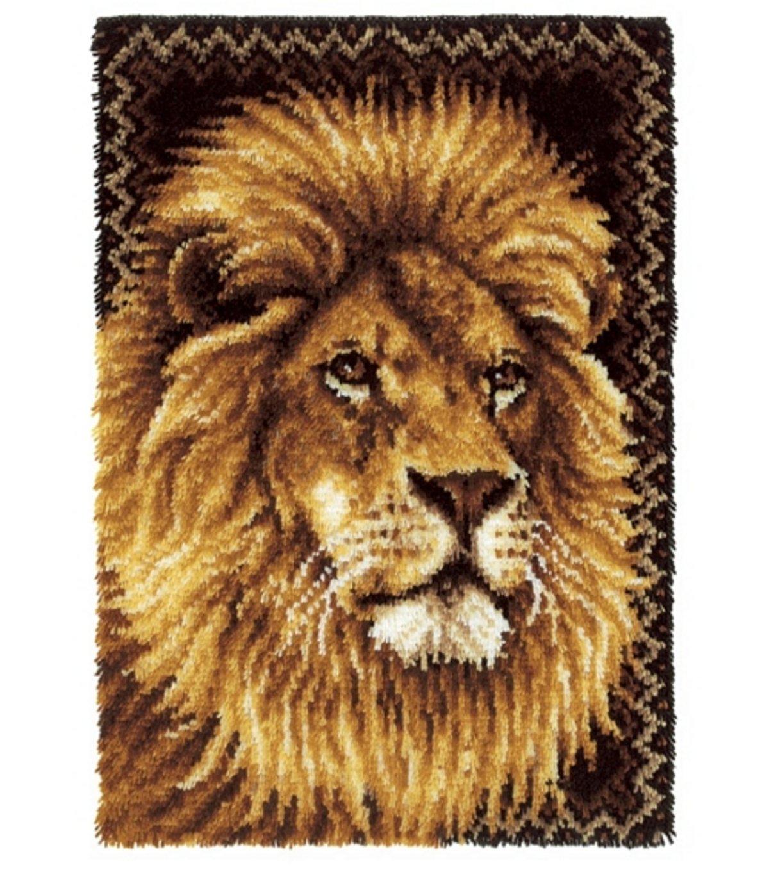 Wonderart Latch Hook Kit 27 Inch x40 Inch -Lion CARON 4497