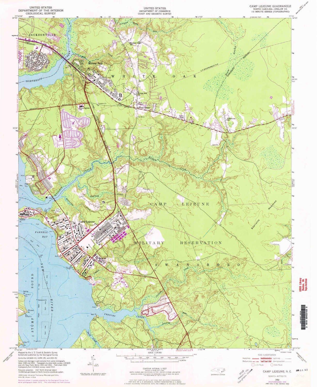Amazon.com : YellowMaps Camp Lejeune NC topo map, 1:24000 Scale, 7.5 on