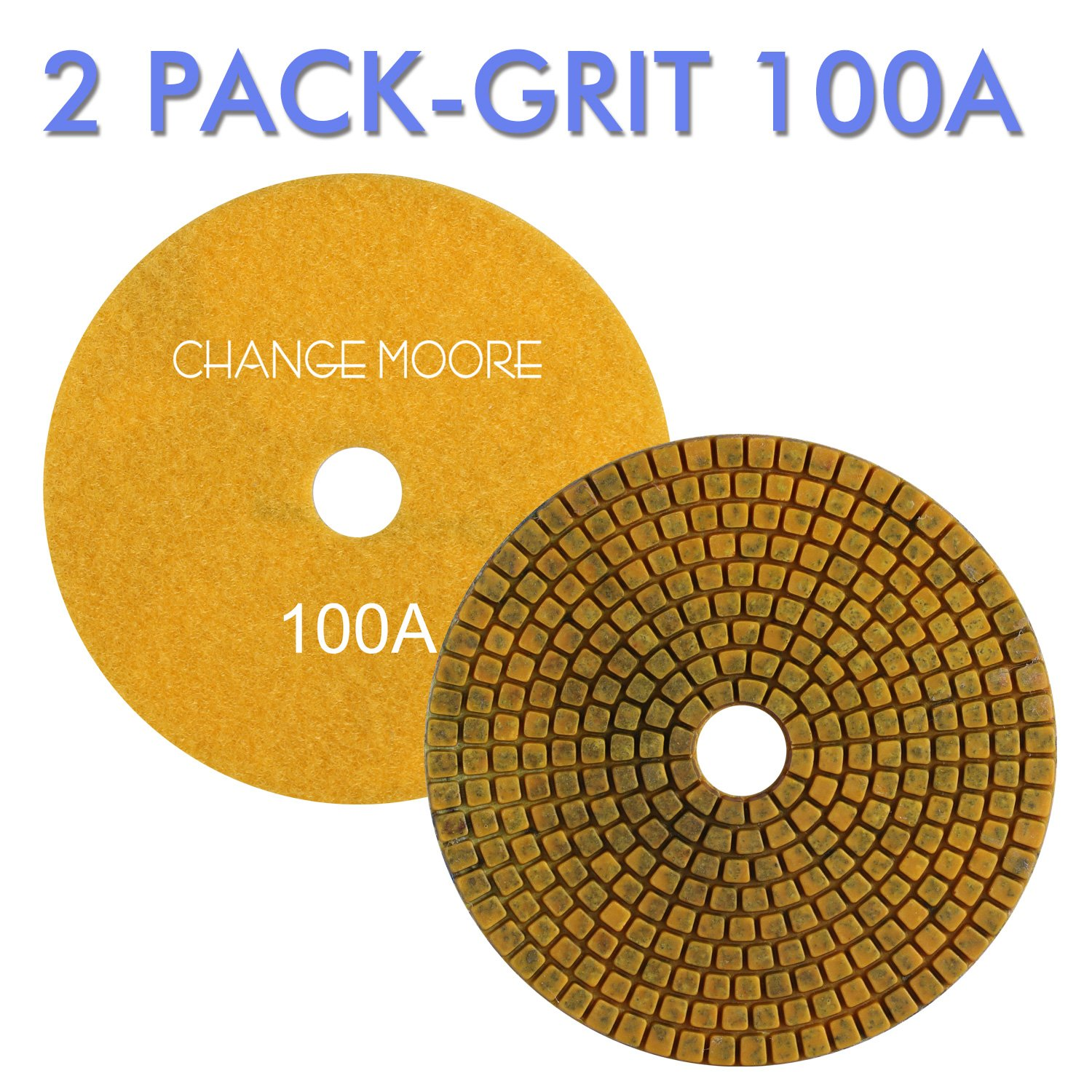 CHANGE MOORE Wet Diamond Polishing Pads 5 Inch for Marble Granite Travertine Terrazzo Concrete Stones Quartz Countertop Floor, 2 pack-Grit 100A by CHANGE MOORE