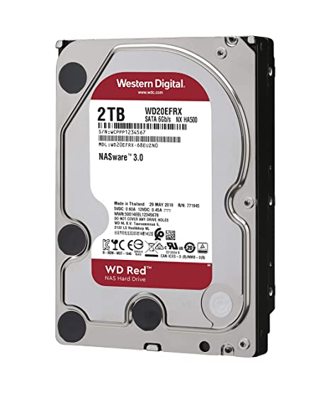 WD Red 2TB NAS Hard Drive - 5400 RPM Class, SATA 6 Gb/s, 64 MB Cache, 3 5