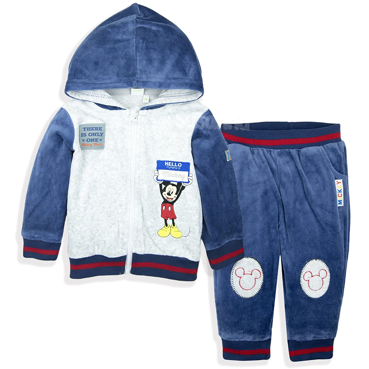 Disney Mickey Mouse Baby Boys Clothing Outfit Tracksuit Set Joggers Hoodie Warm Velvet - Navy 12