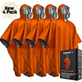 PREPARED4X Emergency Blanket Poncho - Keeps You and Your Gear Dry and Warm During Camping Hiking or Any Outdoor Activity | Thermal Mylar Space Blanket Ponchos to Keep You Prepared to Survive | 3 Pack