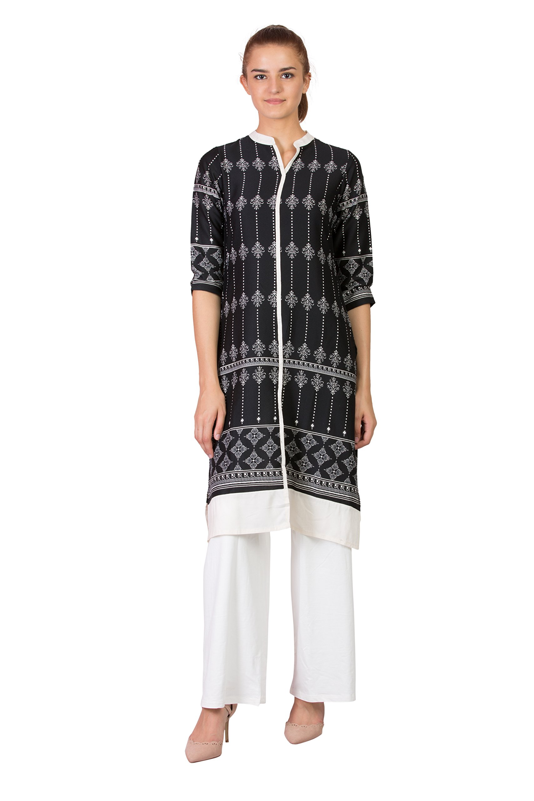 SABHYATA Women's Material:100% Pure Artifical Silk Neck Type:Chinese Neck Large/42 Black