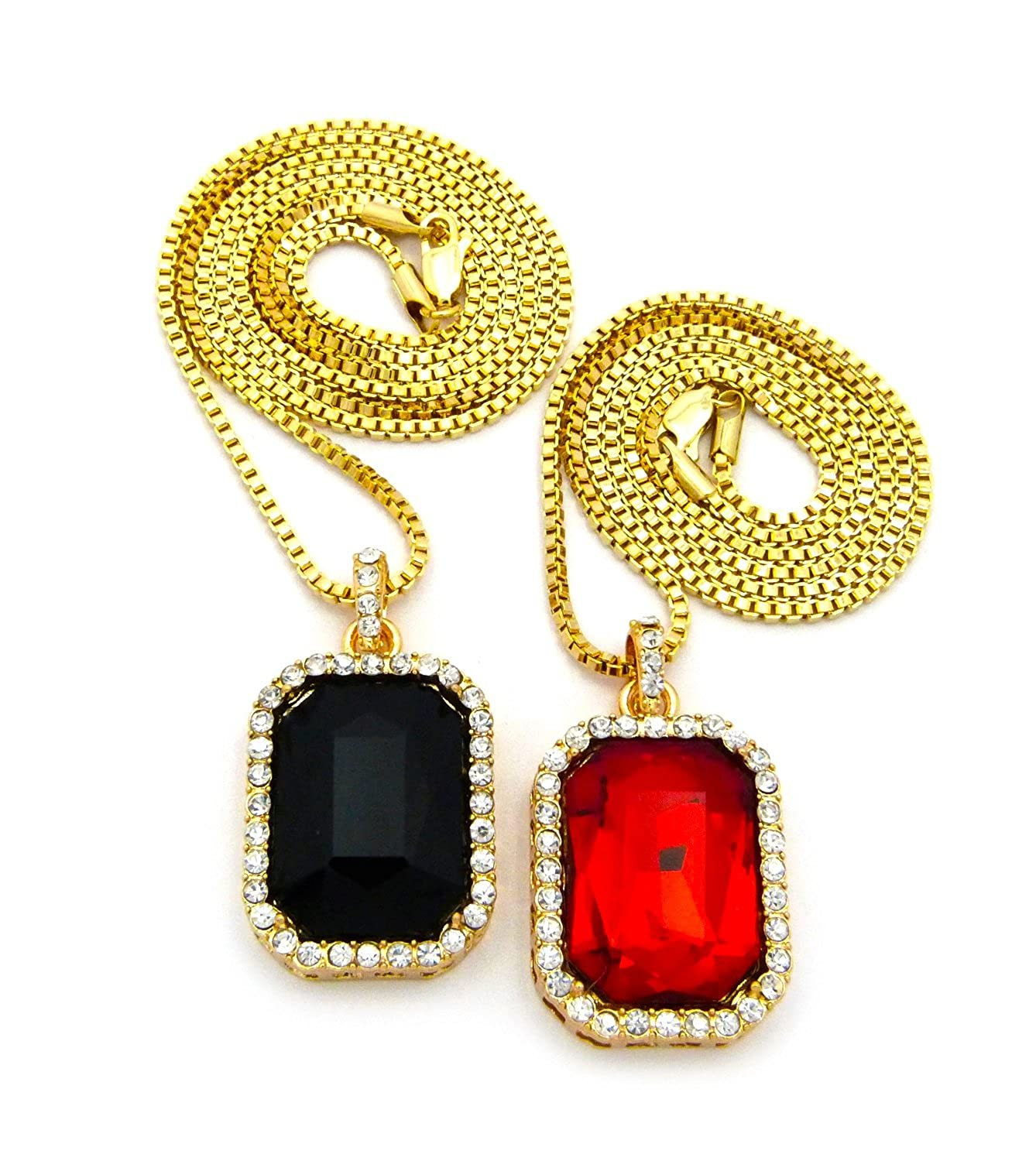 Mens iced out hip hop gold red ruby black onyx pendant box chain mens iced out hip hop gold red ruby black onyx pendant box chain necklace set amazon jewelry aloadofball Gallery