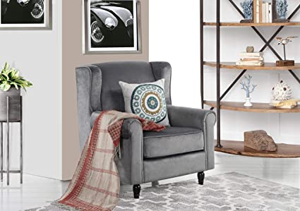 Remarkable Divano Roma Furniture Classic Scroll Arm Velvet Fabric Accent Chair Living Room Armchair Grey Ibusinesslaw Wood Chair Design Ideas Ibusinesslaworg