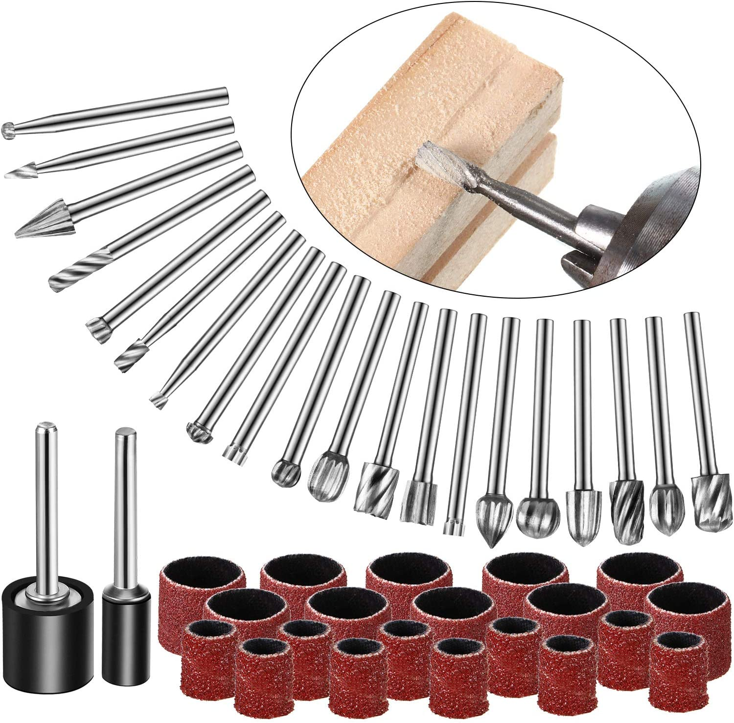 20 Pieces Tungsten Carbide Rotary Burr Set 1/8 Shank HSS Rotary Bit Burrs Set and 22 Pieces Sanding Drums Kit for Drum Sander, Carbide Router Bit Set for DIY Woodworking, Carving, Engraving, Drilling