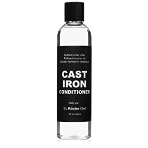 Natural Cast Iron Conditioner For Daily Use (8oz) - Bottled in the USA from Ethically Farmed Non GMO Refined Coconut Oil. Maintain the Seasoning on your Cast Iron Cookware