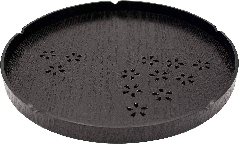 Islandoffer Premium Japanese Style Cherry Pattern Round Tea Tray, Black