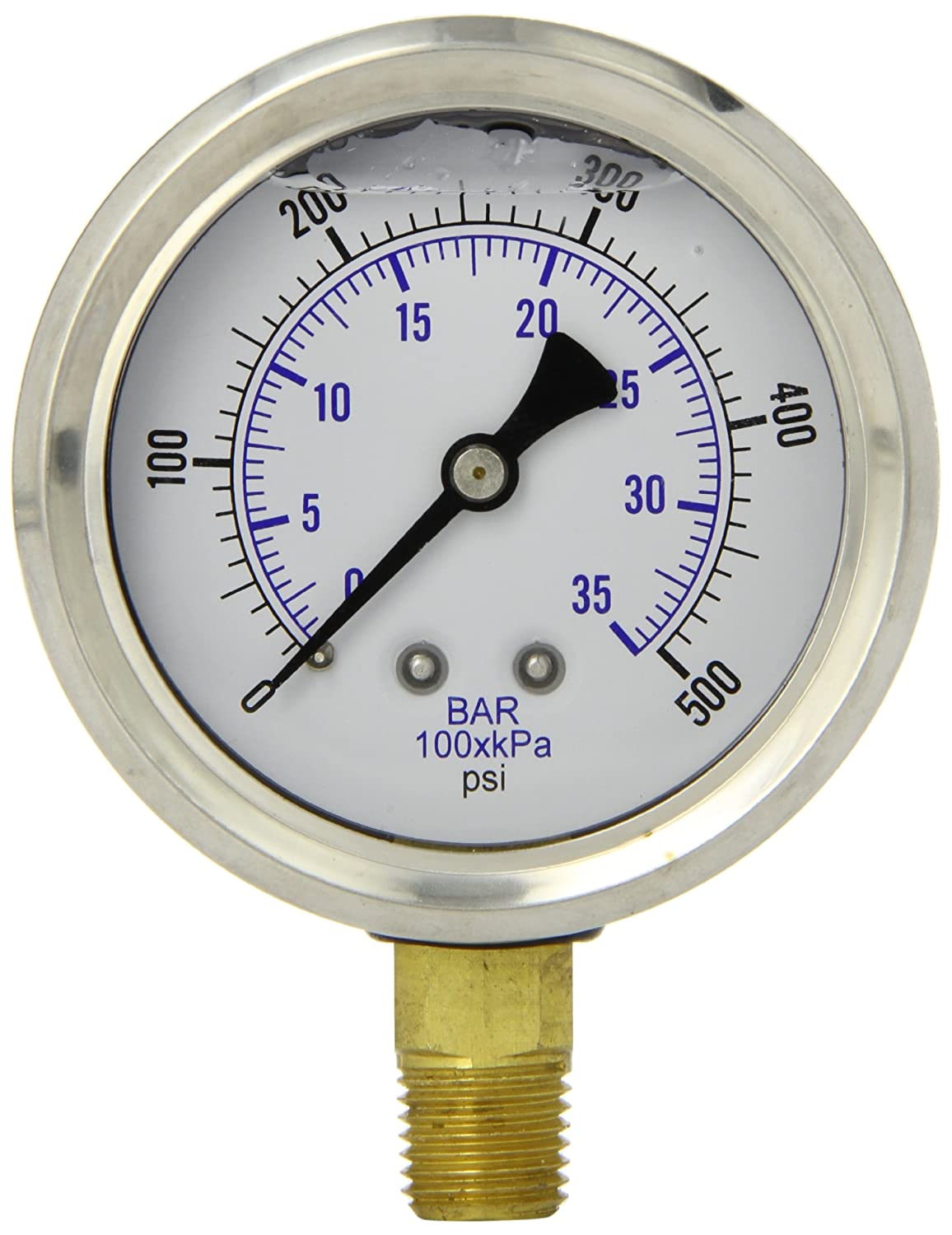 PIC Gauge PRO 201L 254J Glycerin Filled Industrial Bottom Mount Pressure Gauge with Stainless Steel Case Brass Internals Plastic Lens 2 1 2 Dial Size 1 4 Male NPT 0 500 psi