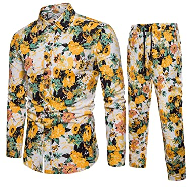 1c46e0960d3e Fensajomon Men Casual Cotton Linen Floral Print Loose Shirt   Harem Pants  Outfits 2 Pcs Yellow