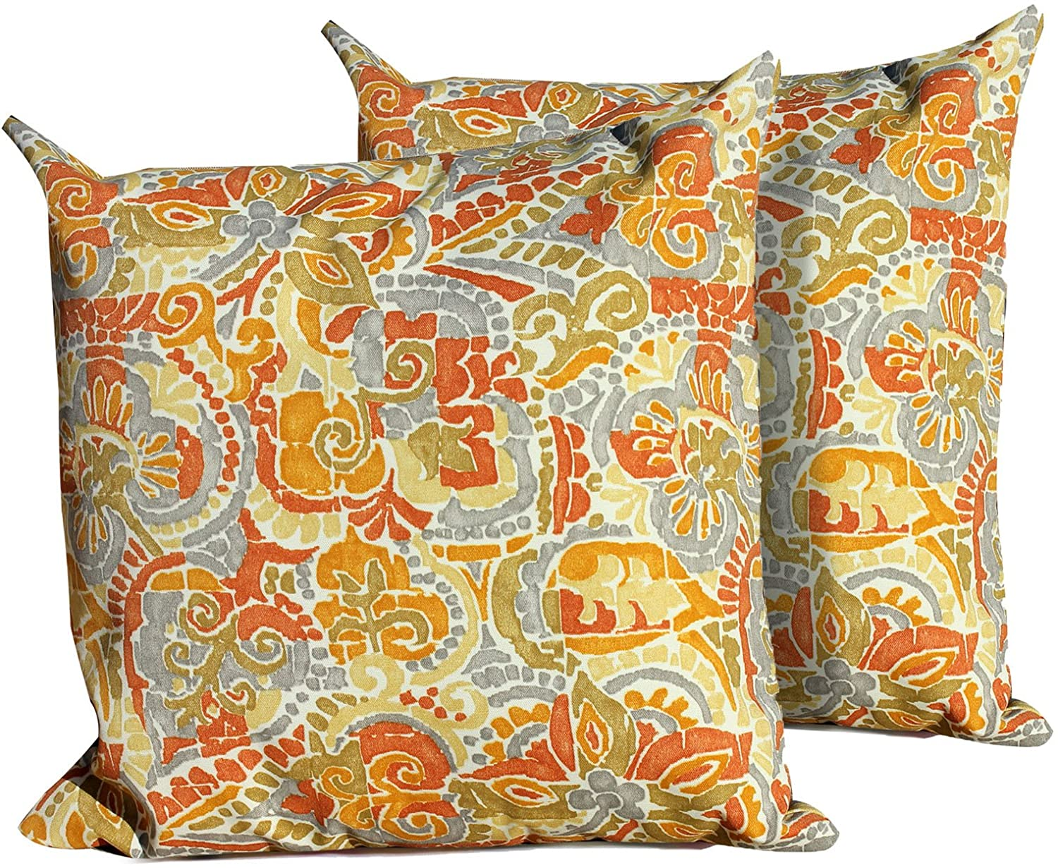 TK Classics Outdoor Square Throw Pillow, Set of 2, Marigold