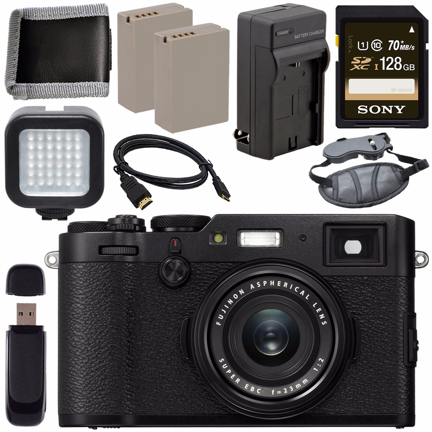 Fujifilm X100F Digital Camera + NP-W126 Lithium Ion Battery + External  Rapid Charger + SDXC Card + Micro HDMI Cable + Memory Card Wallet + Card  Reader